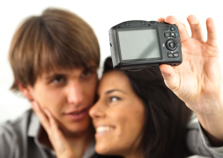 boyfriends taking a photo on a white background photo