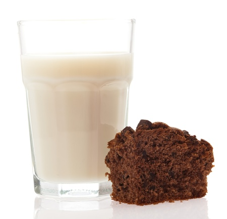 milk glass and brownie isolated on a white background photo
