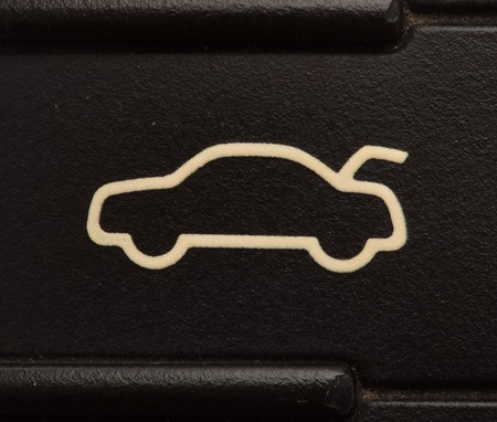 black and white lock: electronic car key sign, extreme closeup photo
