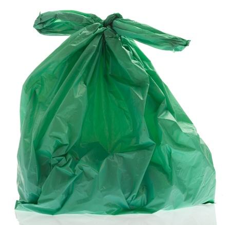 rubbish plastic bag on a white background photo