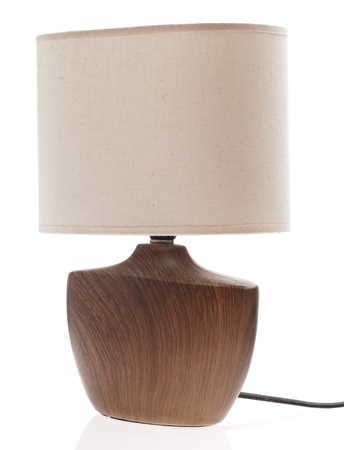 wooden lamp isolated on a white background photo