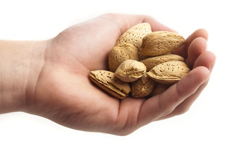 handful of almonds on a white background photo