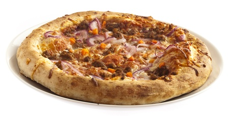 meat pizza isolated on a white background photo