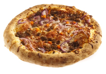 bolognese pizza isolated on a white background photo