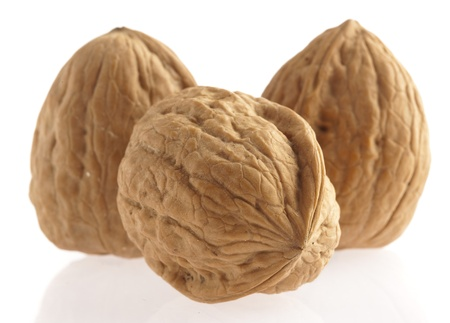 nut shell: walnut group isolated on a white background