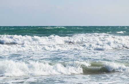 sandy brown: coastline of the beach, extreme closeup photo Stock Photo