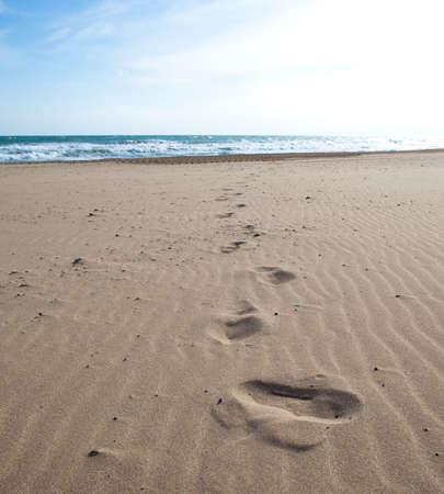 footprints on the sand, extreme closeup photo Reklamní fotografie - 8770081