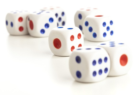 various dices isolated on a white background photo