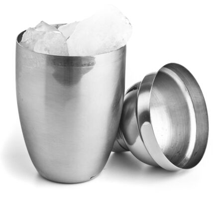 barman: closeup of a metal shaker on a white background Stock Photo