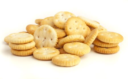 salted biscuit stack isolated on white background photo