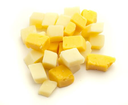 cheese cubes isolated on a white background photo