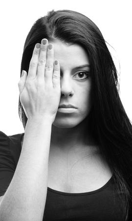 women black and white face portrait closeup photo