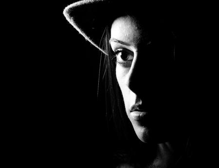 women black and white face portrait closeup Stock Photo - 8849720