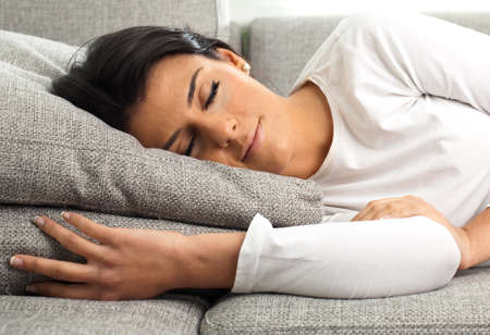 girl sleeping on the sofa, extreme closeup photo