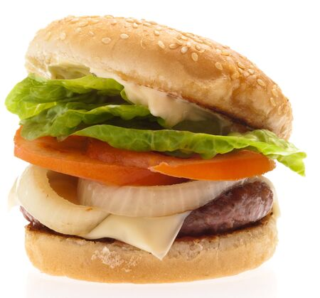 complete burger isolated on a white background photo