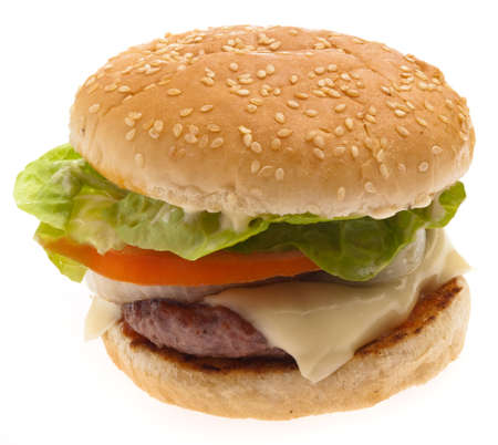 burger background: complete burger isolated on a white background