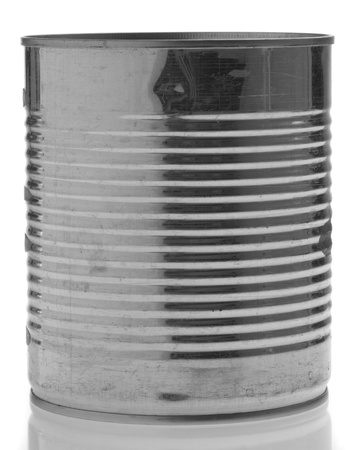 aluminum tin can isolated on a white background photo