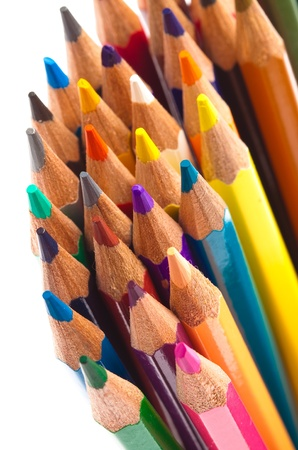 closeup of crayons on a white background photo