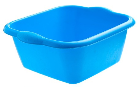 blue plastic tub isolated on a white abckground