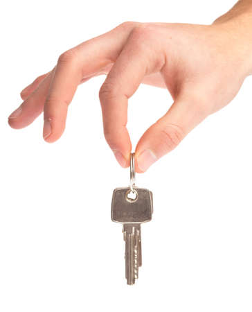 hand holding keys on a white background Stock Photo - 8849803