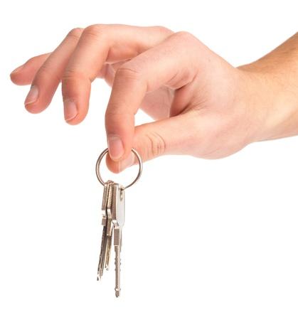 hand holding keys on a white background Stock Photo - 8849784