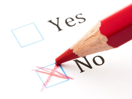 questionnaires: questionnaire yes or not, extreme closeup photo Stock Photo