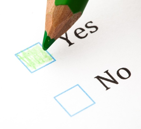 questionnaire check boxes and green pencil, closeup Stock Photo - 8849757