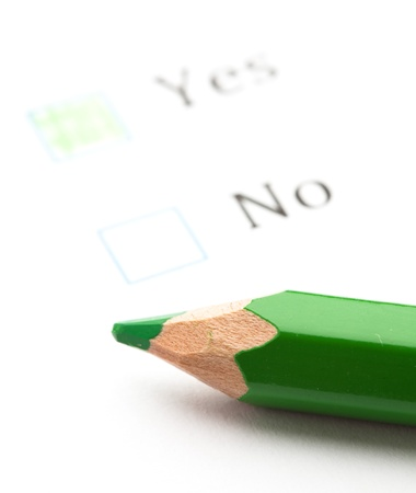 questionnaire check boxes and green pencil, closeup Stock Photo - 8849765