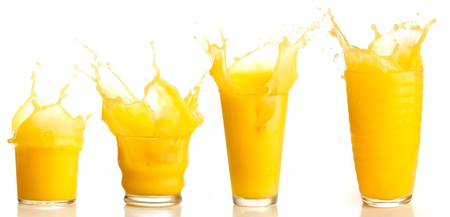 orange juice splash collection on a white background Stock Photo