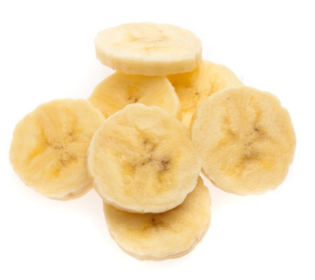 banana slices isolated on a white background Stock Photo - 9874323