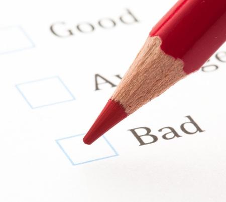 evaluation test check boxes, extreme closeup photo photo