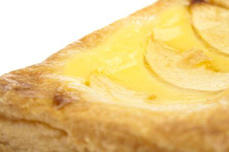 closeup of a apple cake on white background photo