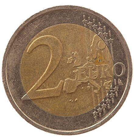 european union currency: 2 euro coin on white background