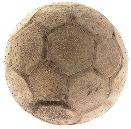 old soccer ball on a white background Stock Photo - 10048984
