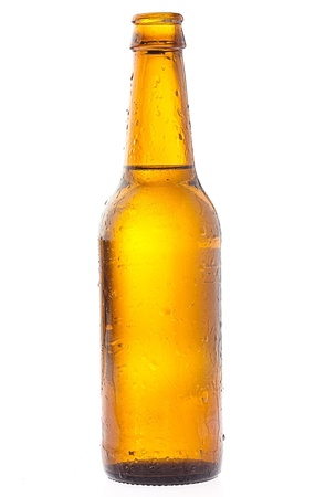 recently: recently opened beer bottle on white background
