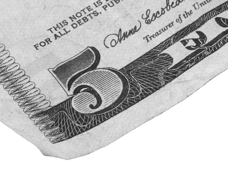 five dollars: 5 dollar note on a white background