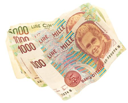 italian lira note on white background Stock Photo - 10049440