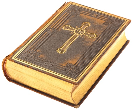 closed ribbon: bible book on a white background