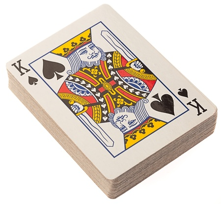 king and queen of hearts: poker deck on a white background Editorial