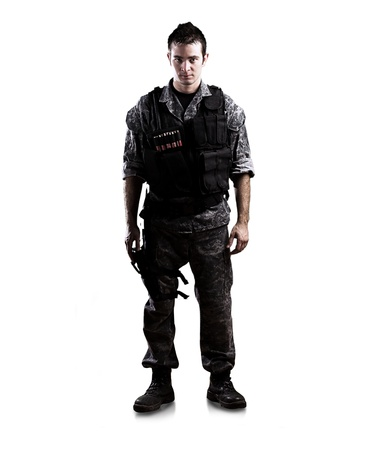 armed soldier isolated on a white background photo