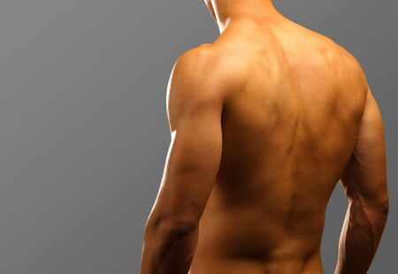muscle man on a black background  photo