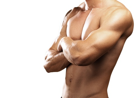 strong torso of a young man on white background Stock Photo - 10364474