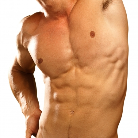 muscle man on a black background Stock Photo - 10374119