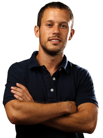 man with polo shirt on a white background photo