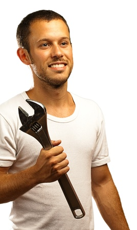 mechanic man with a metal wrench on a white background Stock Photo - 10383971
