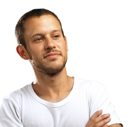 young man smiling on a white background Stock Photo - 10383997