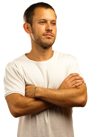 man with a white t-shirt on a white background Stock Photo - 10384027