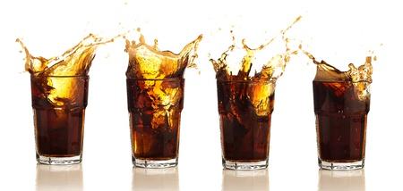 soda splash: brown beverage splash collection on a white background
