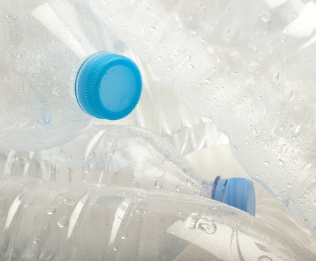 water plastic bottle stack to recycle extreme closeup Stock Photo - 10364392