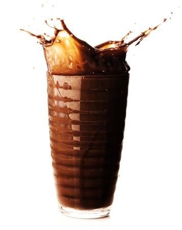 chocolate shake splash on a white background photo